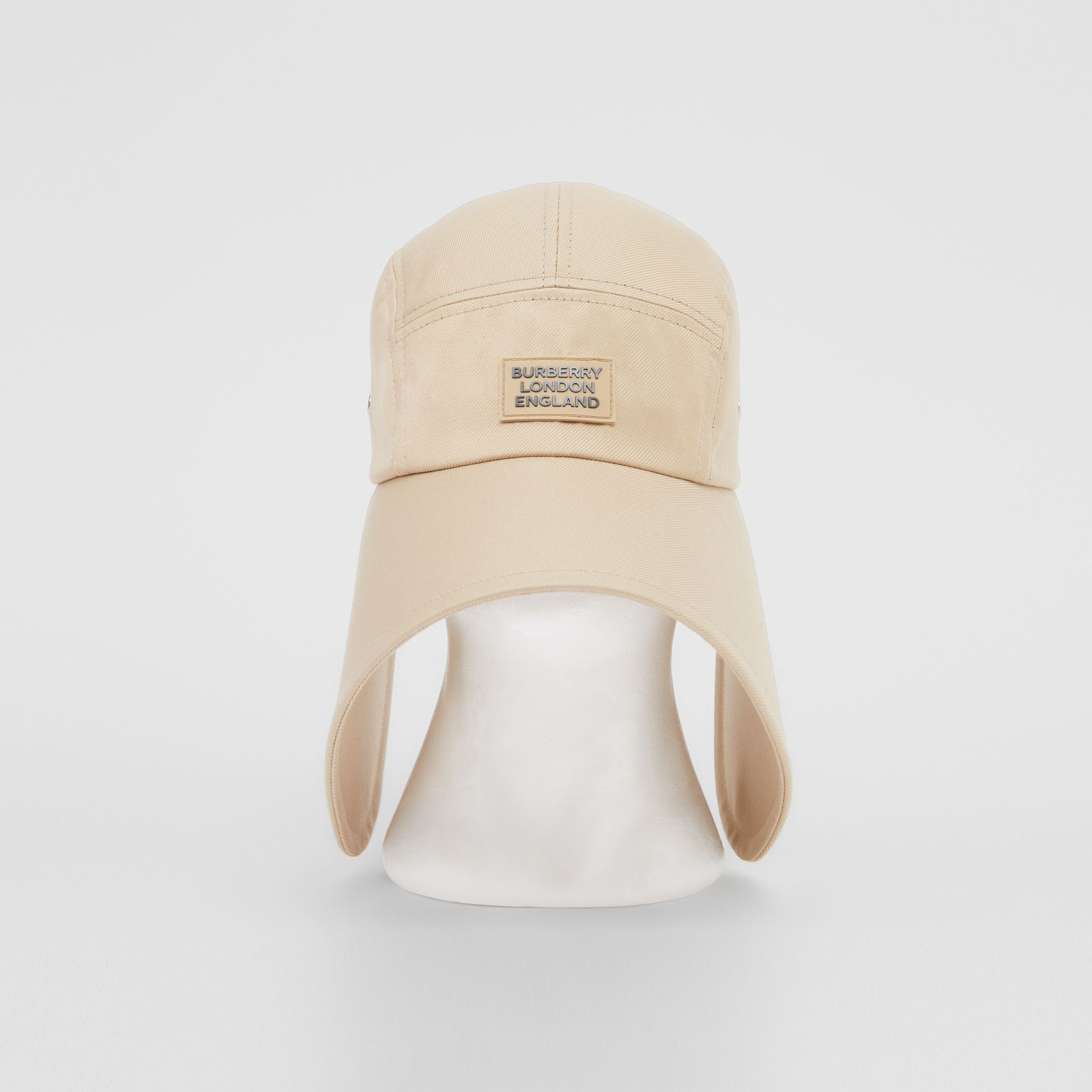 Logo Appliqué Cotton Twill Bonnet Cap in Soft Fawn | Burberry United Kingdom - gallery image 0
