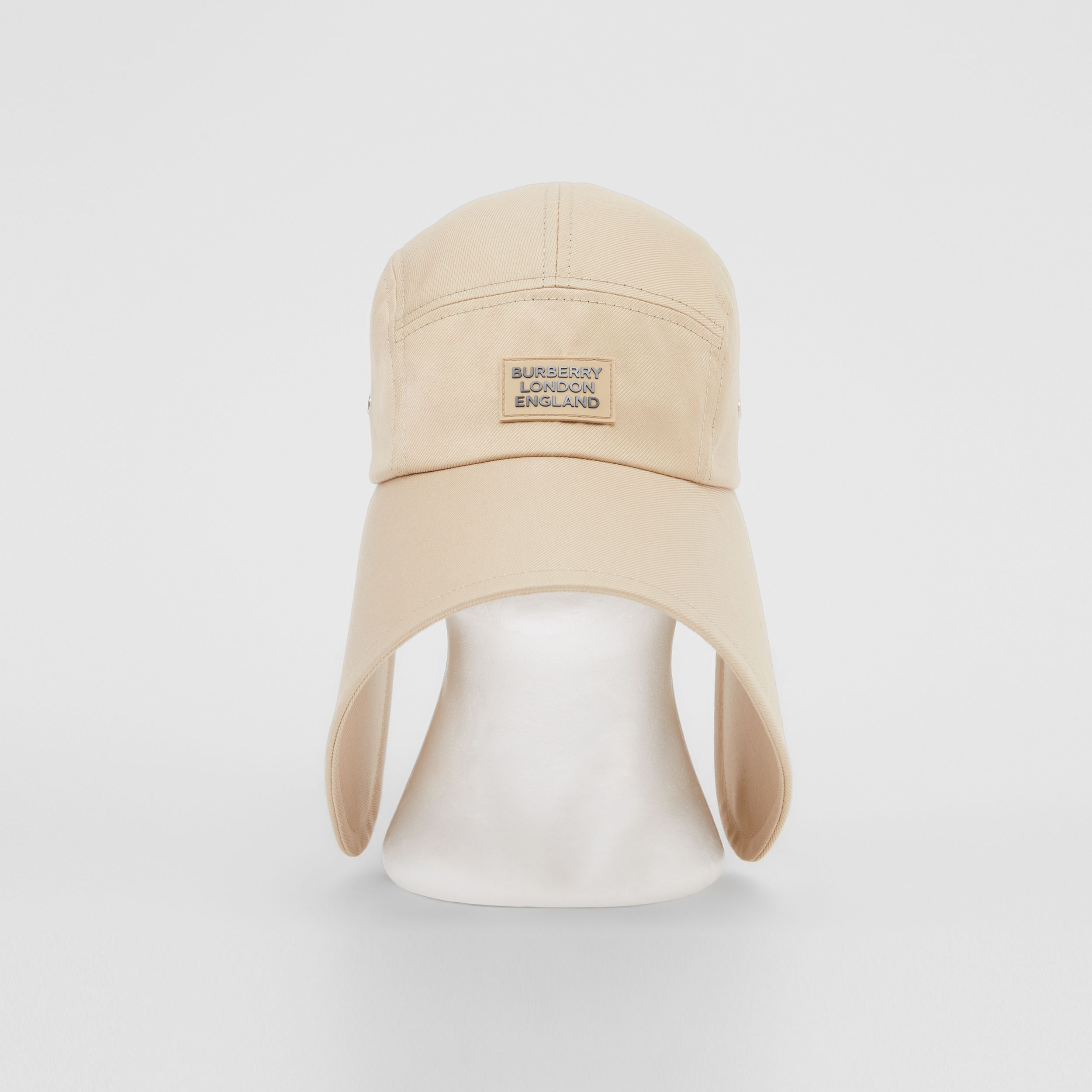 Logo Appliqué Cotton Twill Bonnet Cap in Soft Fawn | Burberry - 1