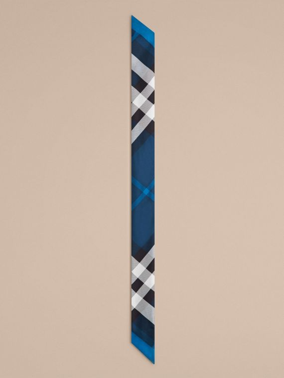 Marine blue Check Print Slim Silk Scarf Marine Blue - cell image 3