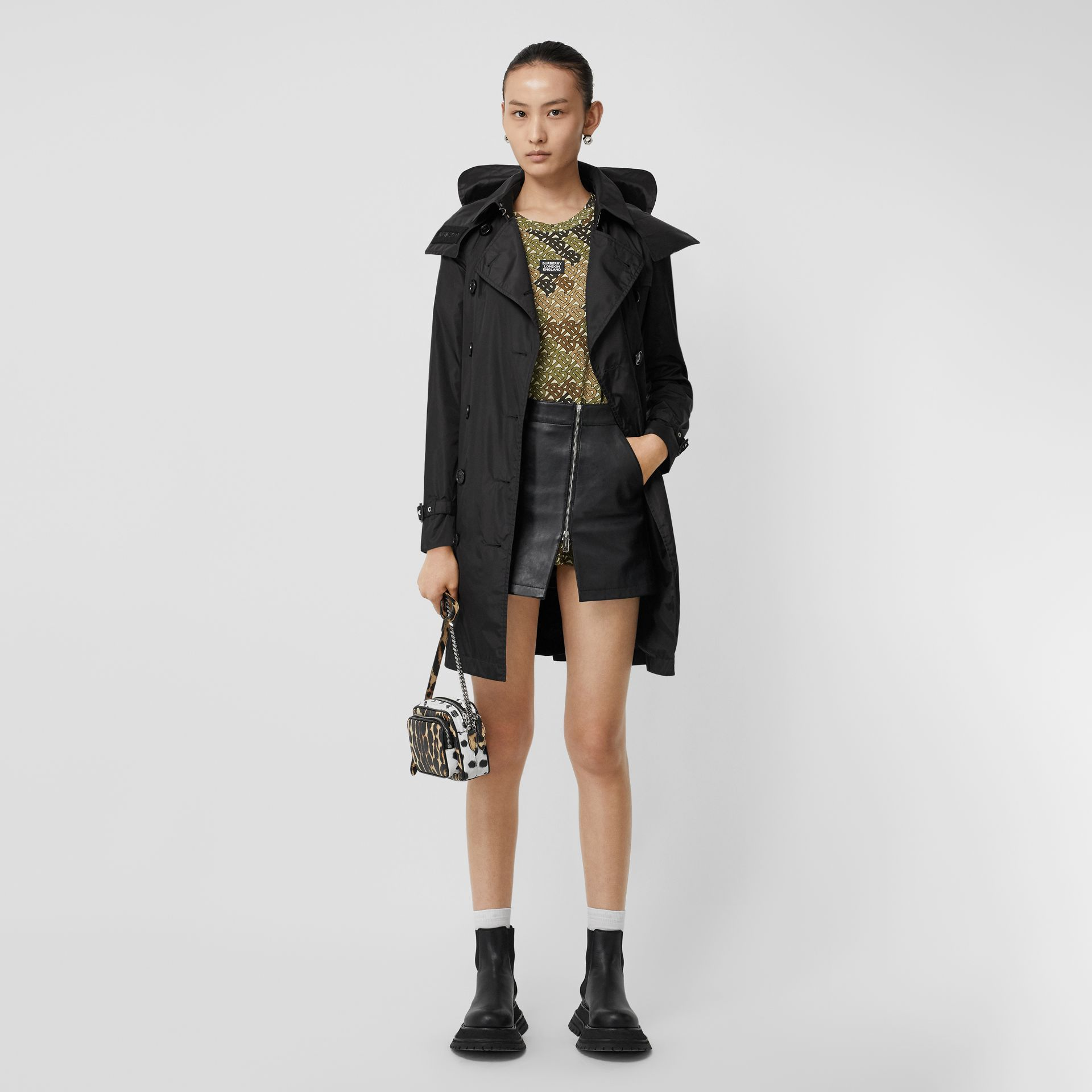 Detachable Hood ECONYL® Trench Coat in Black - Women | Burberry Singapore - gallery image 0