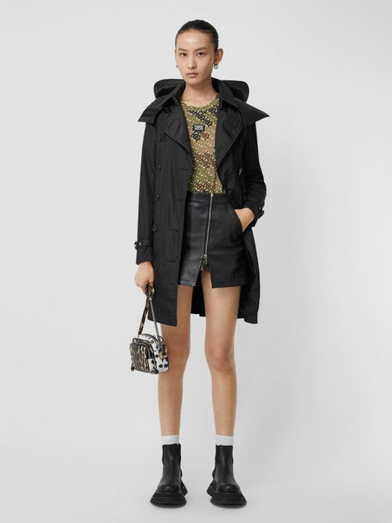 Detachable Hood ECONYL® Trench Coat in Black