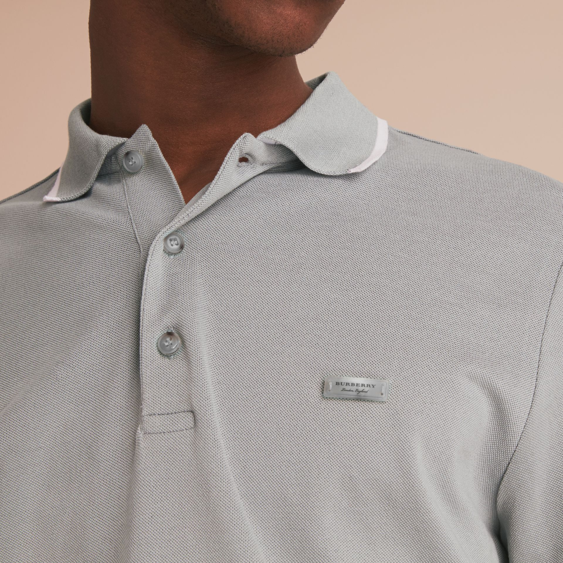 Tipped Collar Cotton Piqué Polo Shirt in Mist Grey - gallery image 5