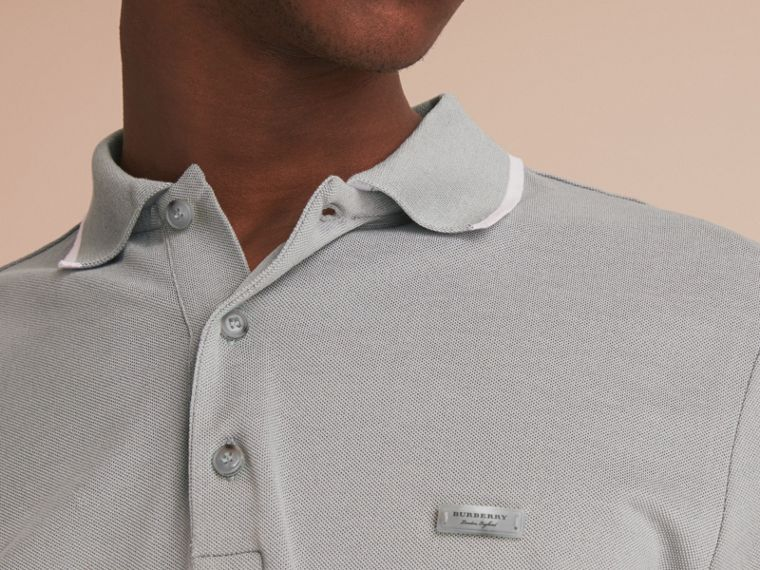 Tipped Collar Cotton Piqué Polo Shirt in Mist Grey - cell image 4