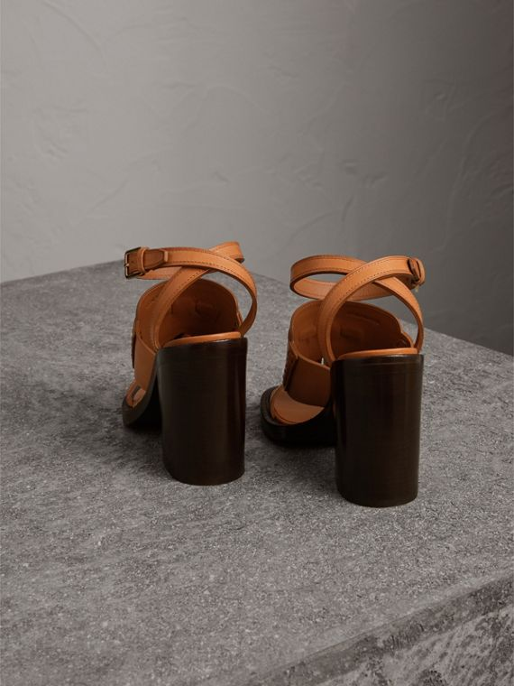 Tasselled Leather Block-heel Sandals in Amber - Women | Burberry - cell image 3
