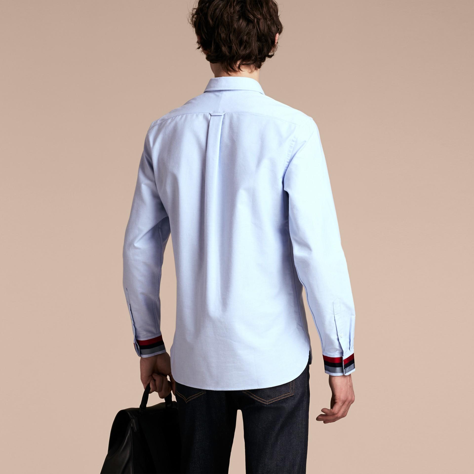 Oxford Cotton Shirt with Regimental Cuff Detail Cornflower Blue - gallery image 3