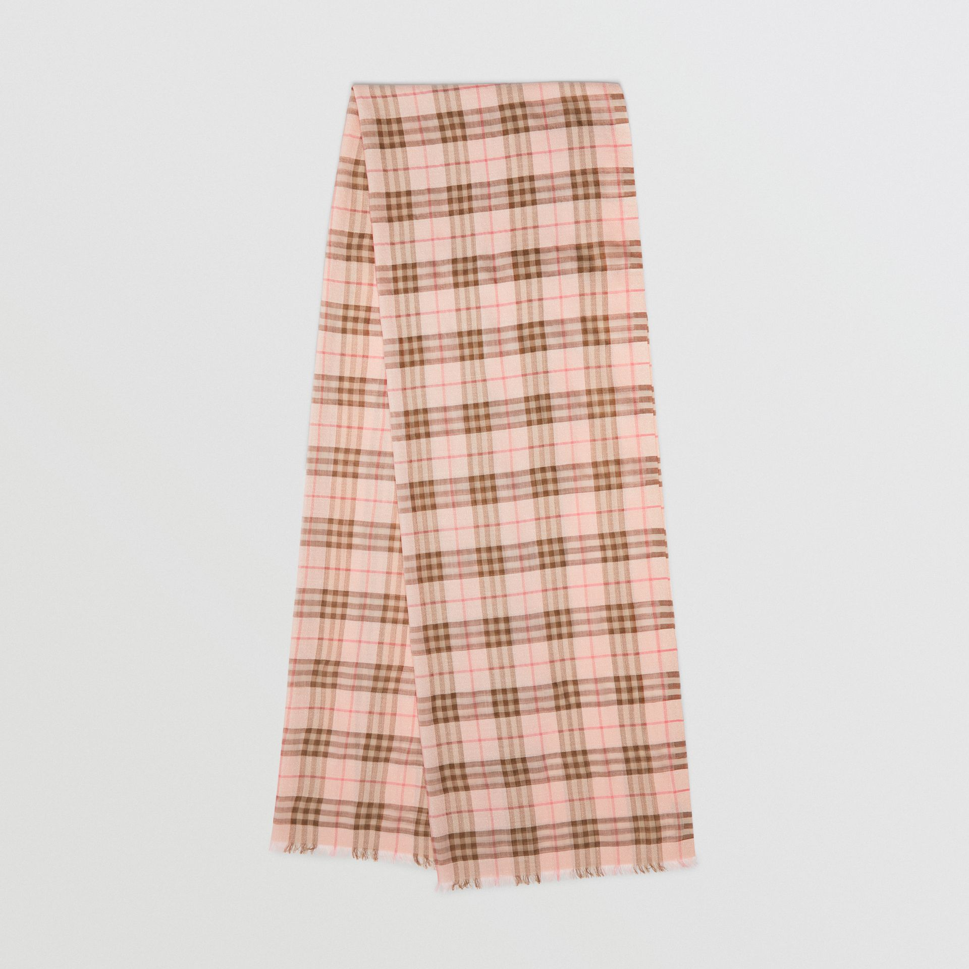 Metallic Check Wool Silk Blend Scarf in Ice Pink - Women | Burberry - gallery image 0