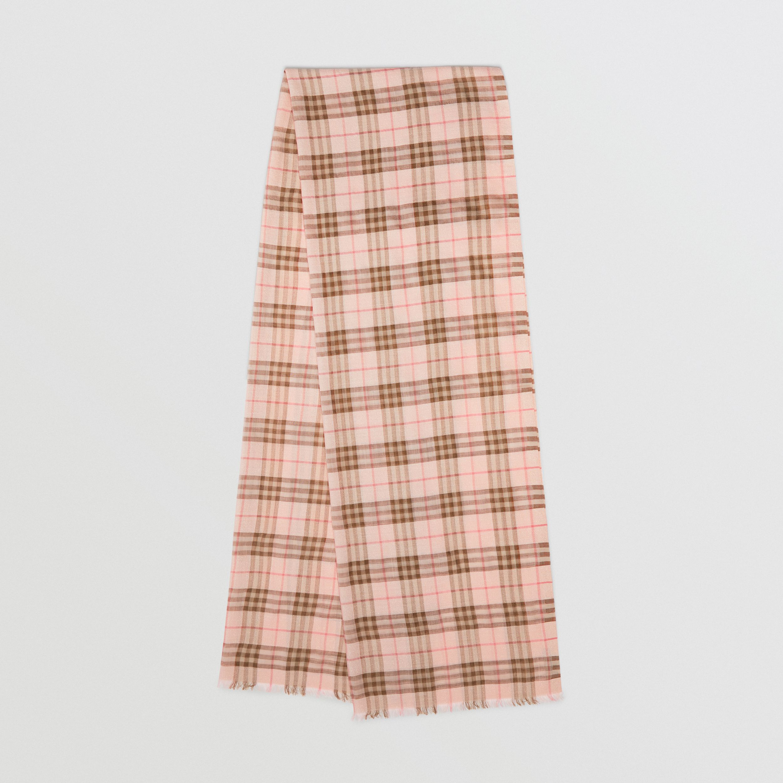 Metallic Check Wool Silk Blend Scarf in Ice Pink | Burberry - 1