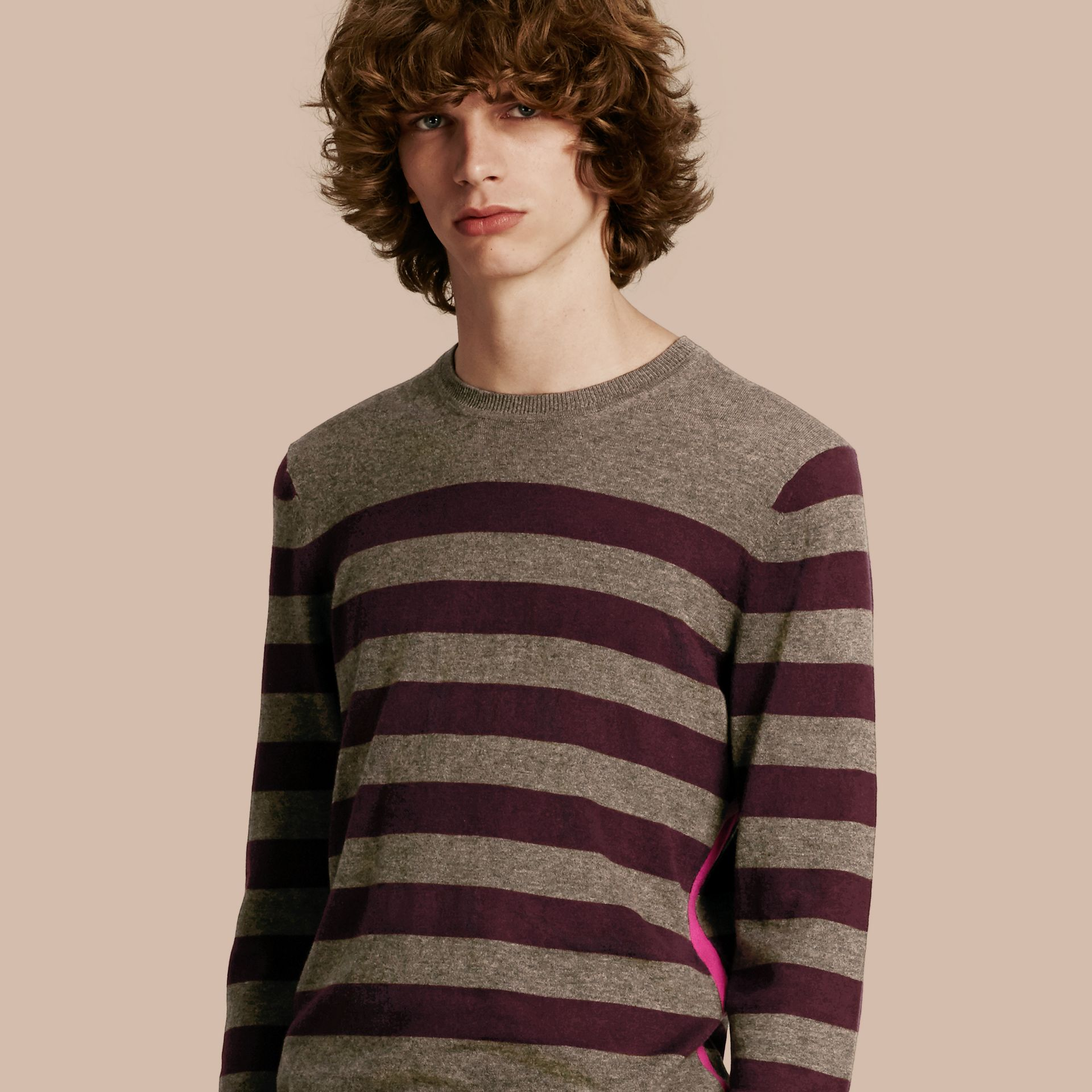 Mink grey Striped Cashmere Cotton Sweater Mink Grey - gallery image 1