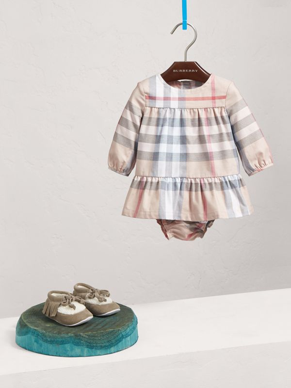 Check Cotton Tiered Dress with Bloomers in Pale Stone | Burberry United Kingdom - cell image 2