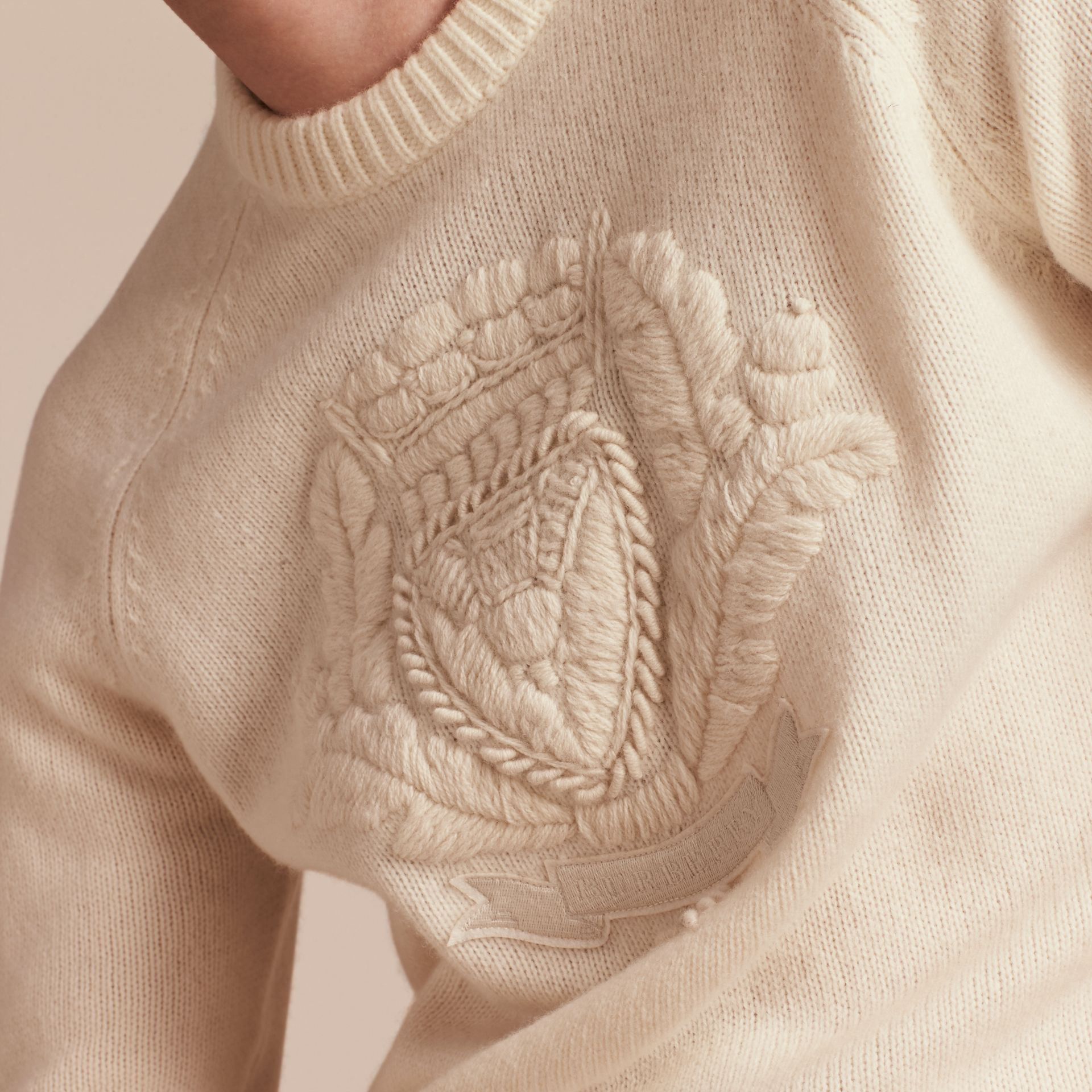 Natural white Embroidered Crest Wool Sweater - gallery image 5