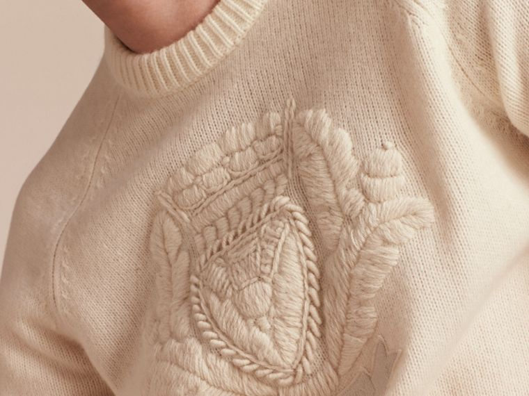 Natural white Embroidered Crest Wool Sweater - cell image 4
