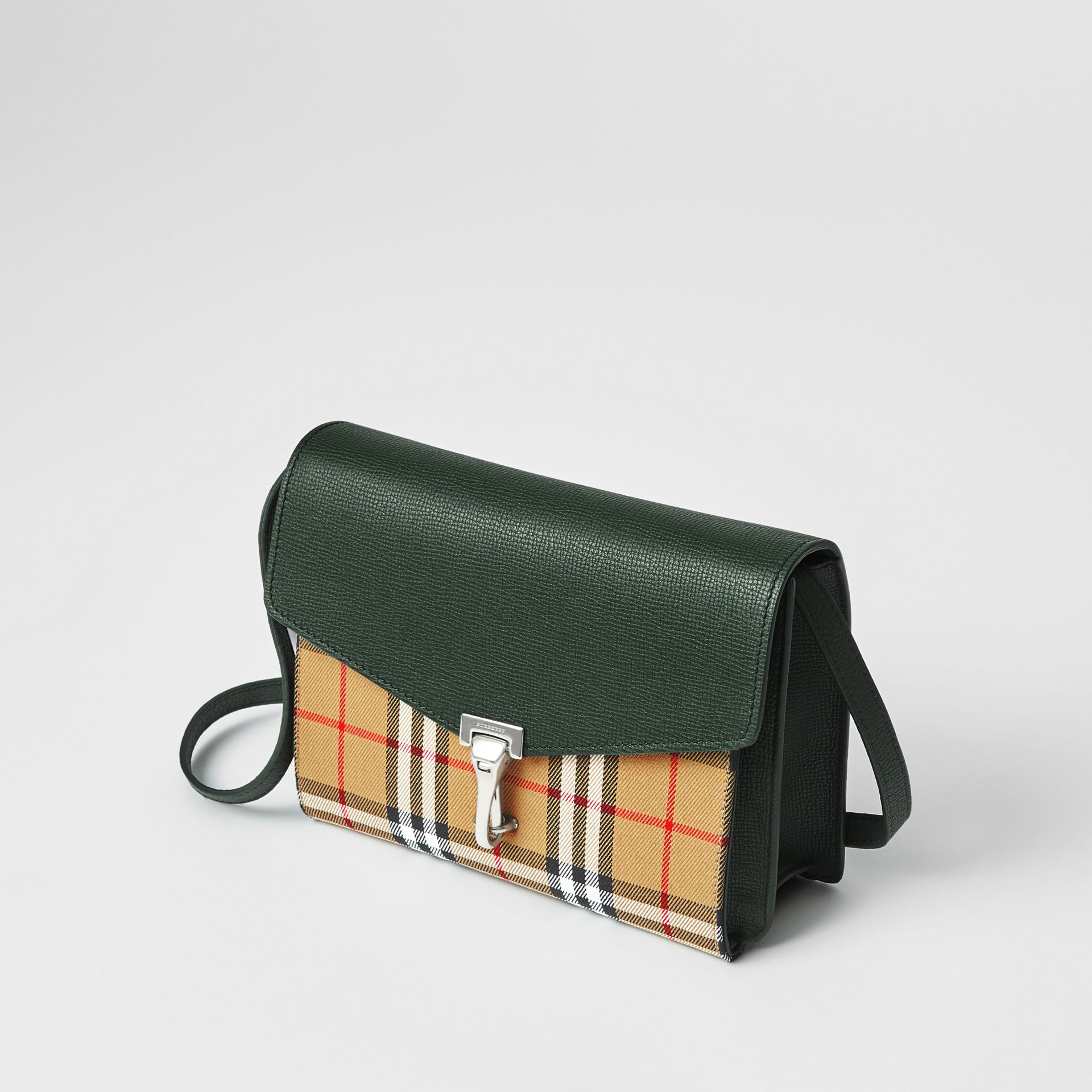 Small Vintage Check and Leather Crossbody Bag in Green - Women | Burberry Canada - gallery image 4