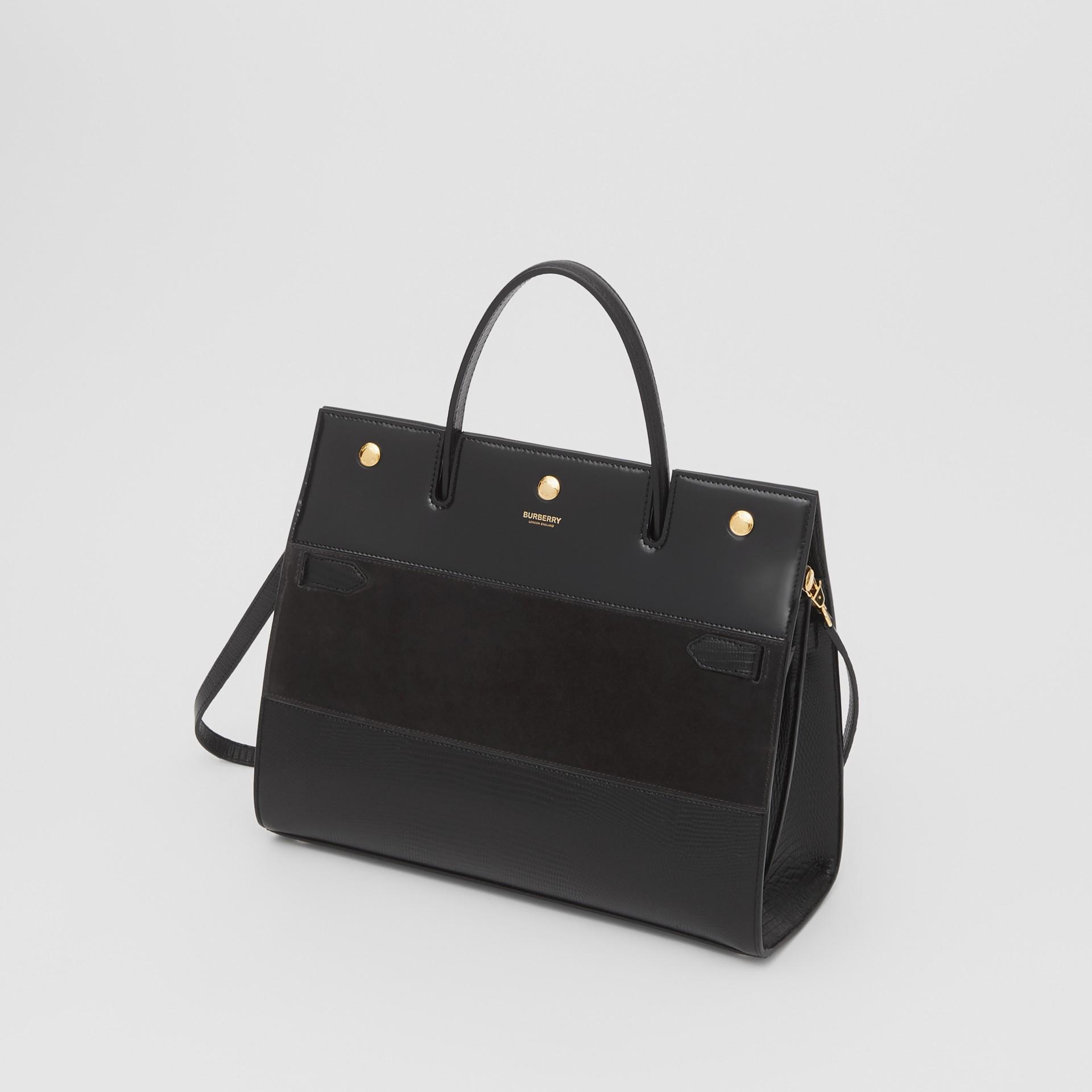 Sac Title moyen en cuir de cerf et cuir velours (Noir) - Femme | Burberry Canada - photo de la galerie 3