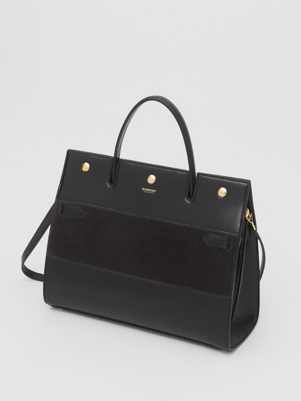 Sac Title moyen en cuir de cerf et cuir velours (Noir) - Femme | Burberry Canada - cell image 3