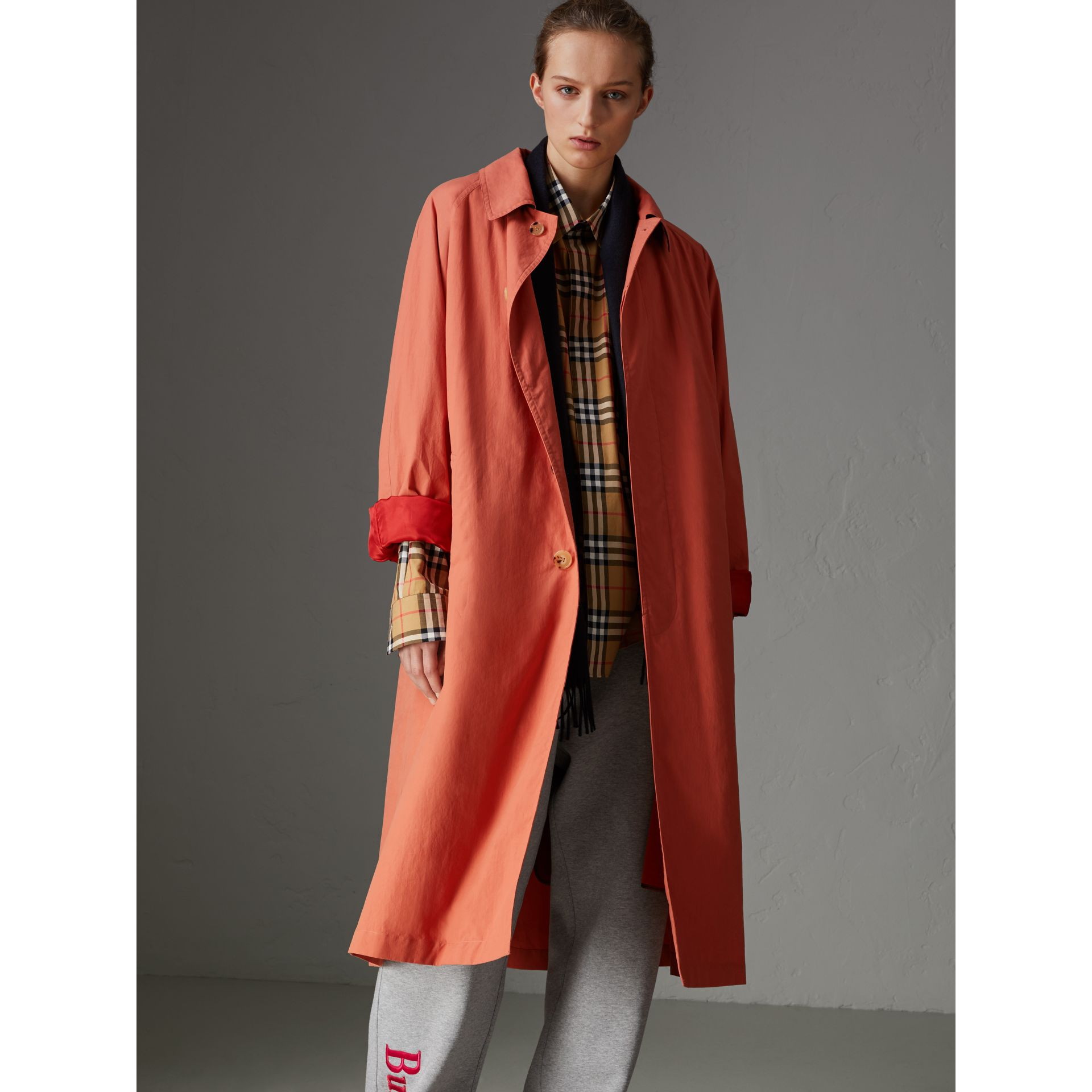 Reissued Cotton Car Coat with Detachable Warmer in Coral - Women | Burberry - gallery image 5