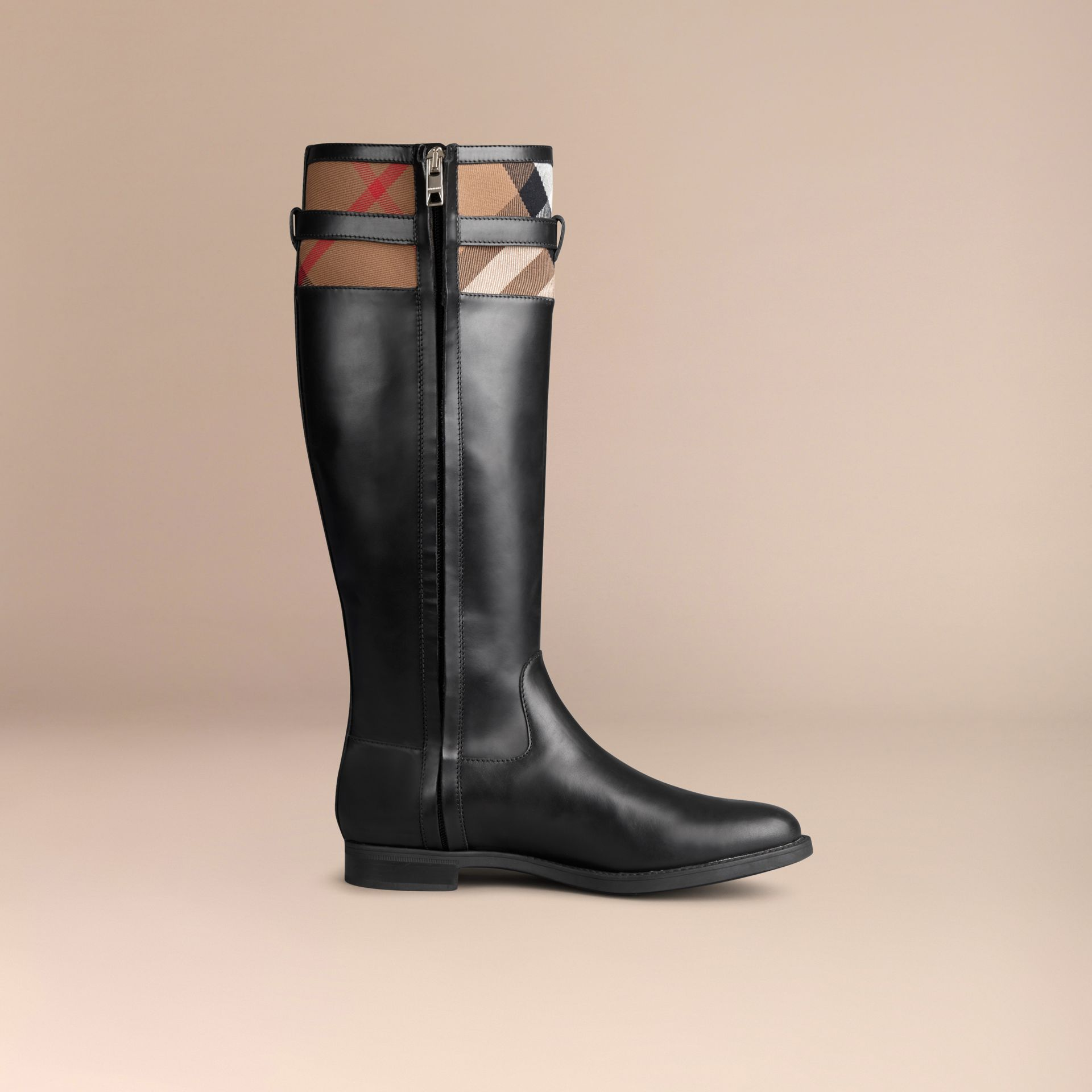 House Check Detail Riding Boots - Women | Burberry - gallery image 3