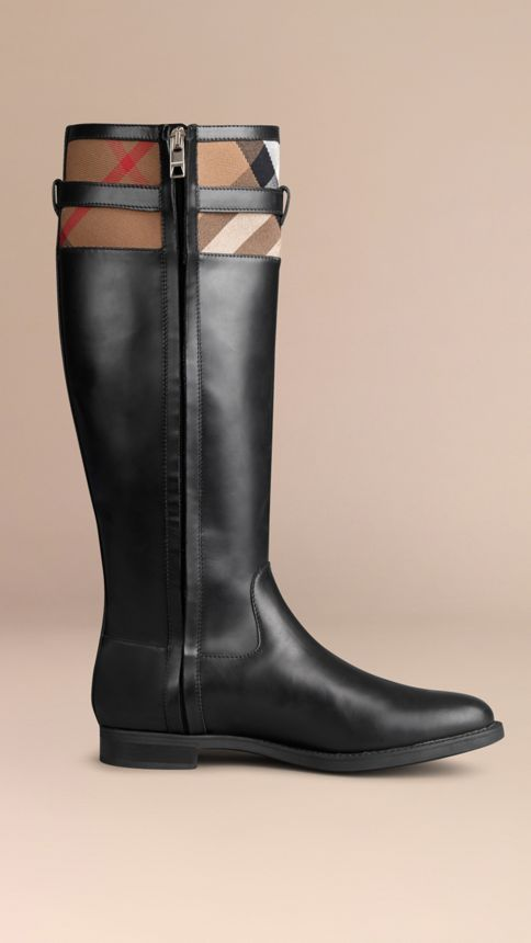 Black House Check Detail Riding Boots - Image 3