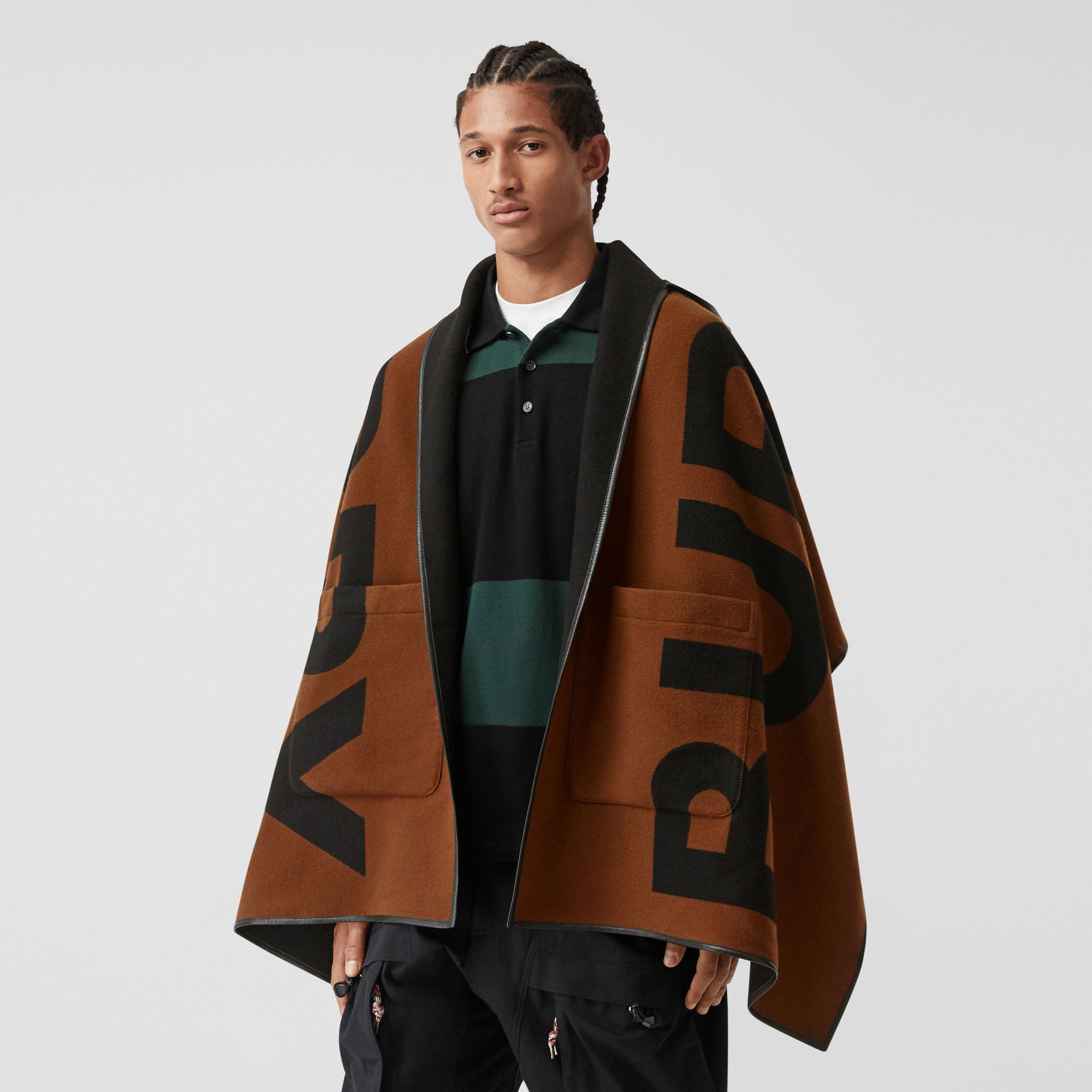 Logo Wool Cotton Jacquard Hooded Cape in Dark Chestnut Brown | Burberry - gallery image 5
