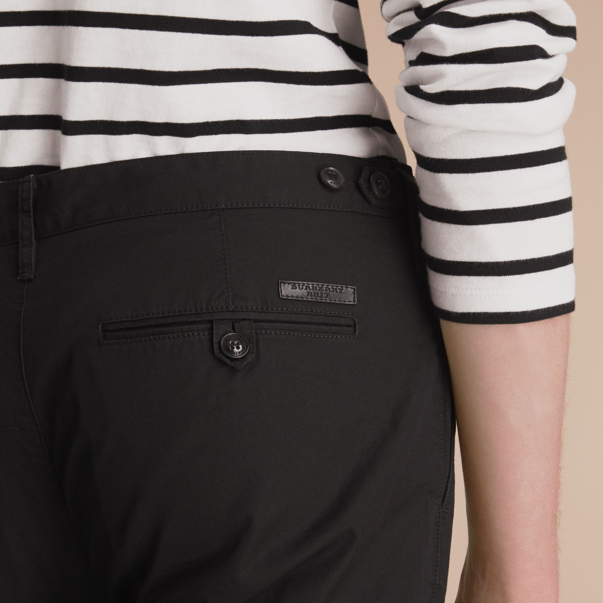 Straight Fit Cotton Chinos in Black - Men | Burberry - gallery image 4