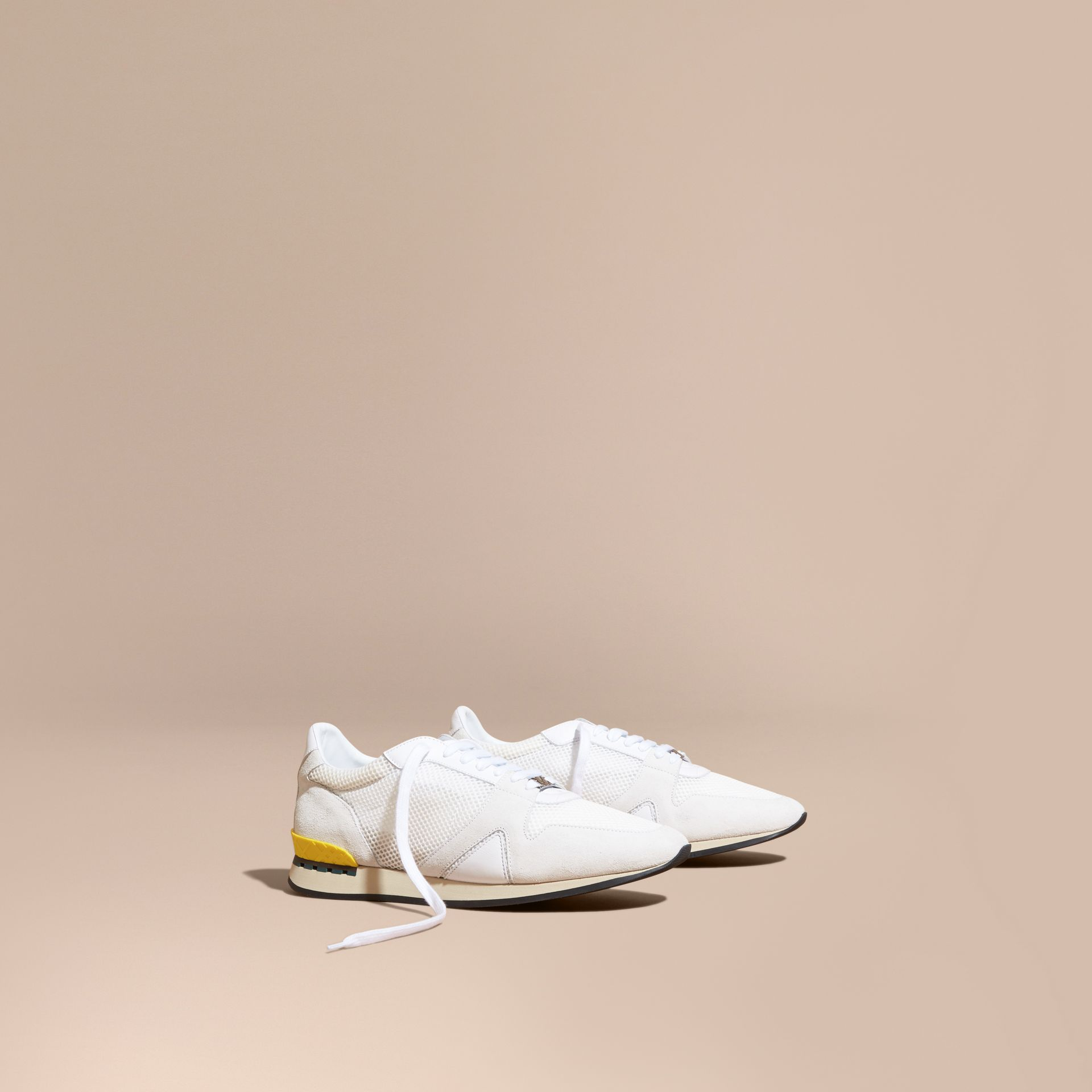White The Field Sneaker in Suede and Mesh White - gallery image 1