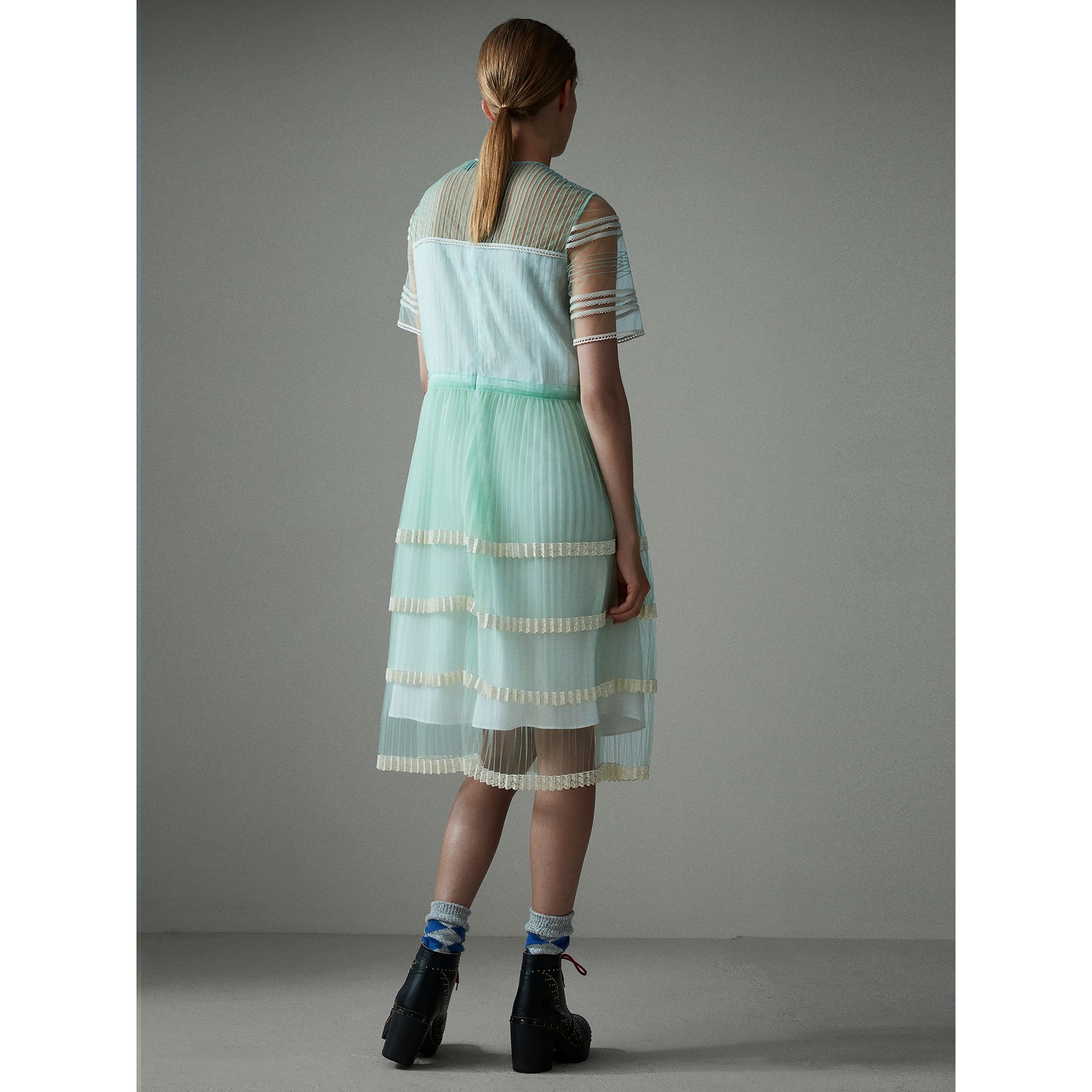 English Lace Trim Pleated Tulle Dress in Light Mint - Women | Burberry Canada - gallery image 3