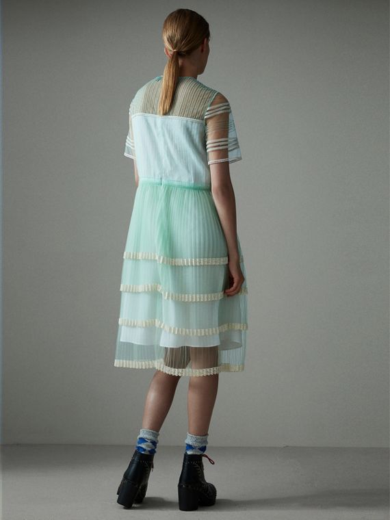 English Lace Trim Pleated Tulle Dress in Light Mint - Women | Burberry - cell image 2