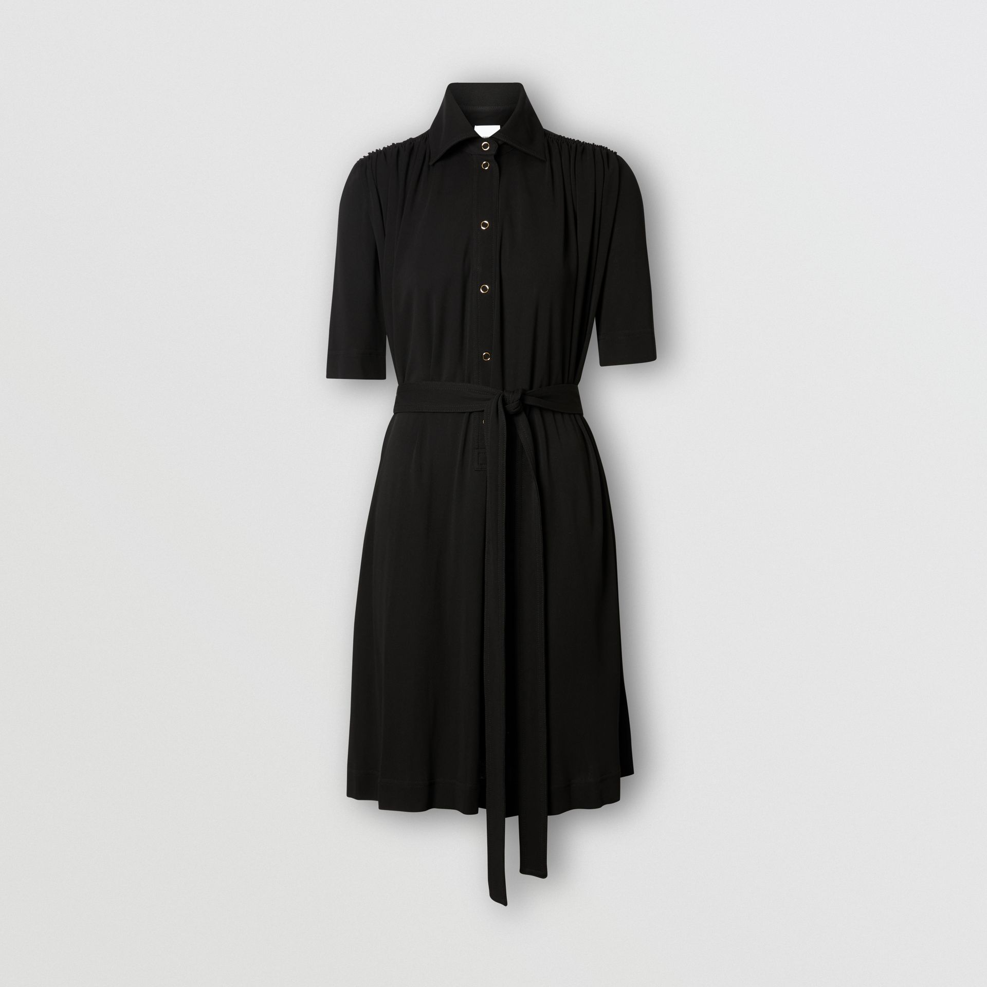 Short-sleeve Gathered Jersey Dress in Black - Women | Burberry - gallery image 3