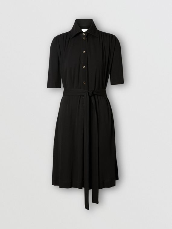 Short-sleeve Gathered Jersey Dress in Black