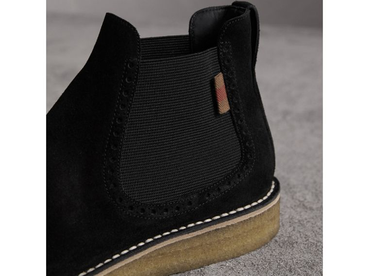 Brogue Detail Suede Chelsea Boots in Black - Men | Burberry United Kingdom - cell image 1
