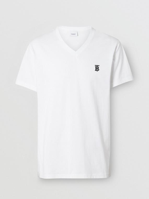 Monogram Motif Cotton V-neck T-shirt in White