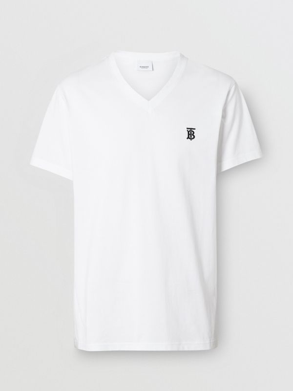 Monogram Motif Cotton V-neck T-shirt in White - Men | Burberry - cell image 3