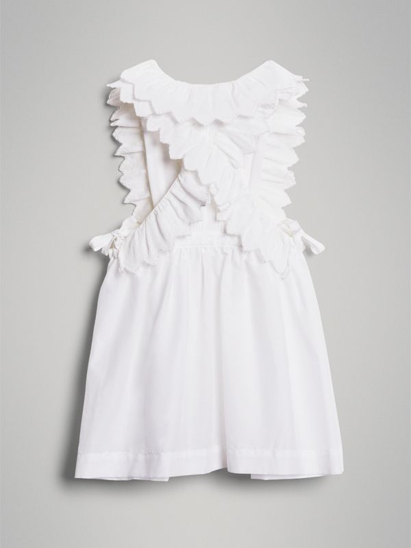 Scalloped Plissé Detail Cotton Shirt Dress in White - Children | Burberry Singapore - cell image 3