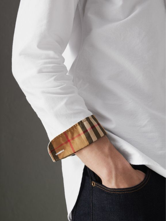 Check Cuff Cotton Oxford Shirt in White - Men | Burberry Australia - cell image 1