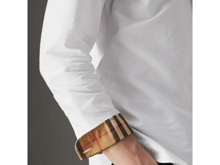 Check Cuff Cotton Oxford Shirt in White - Men | Burberry United Kingdom - cell image 1