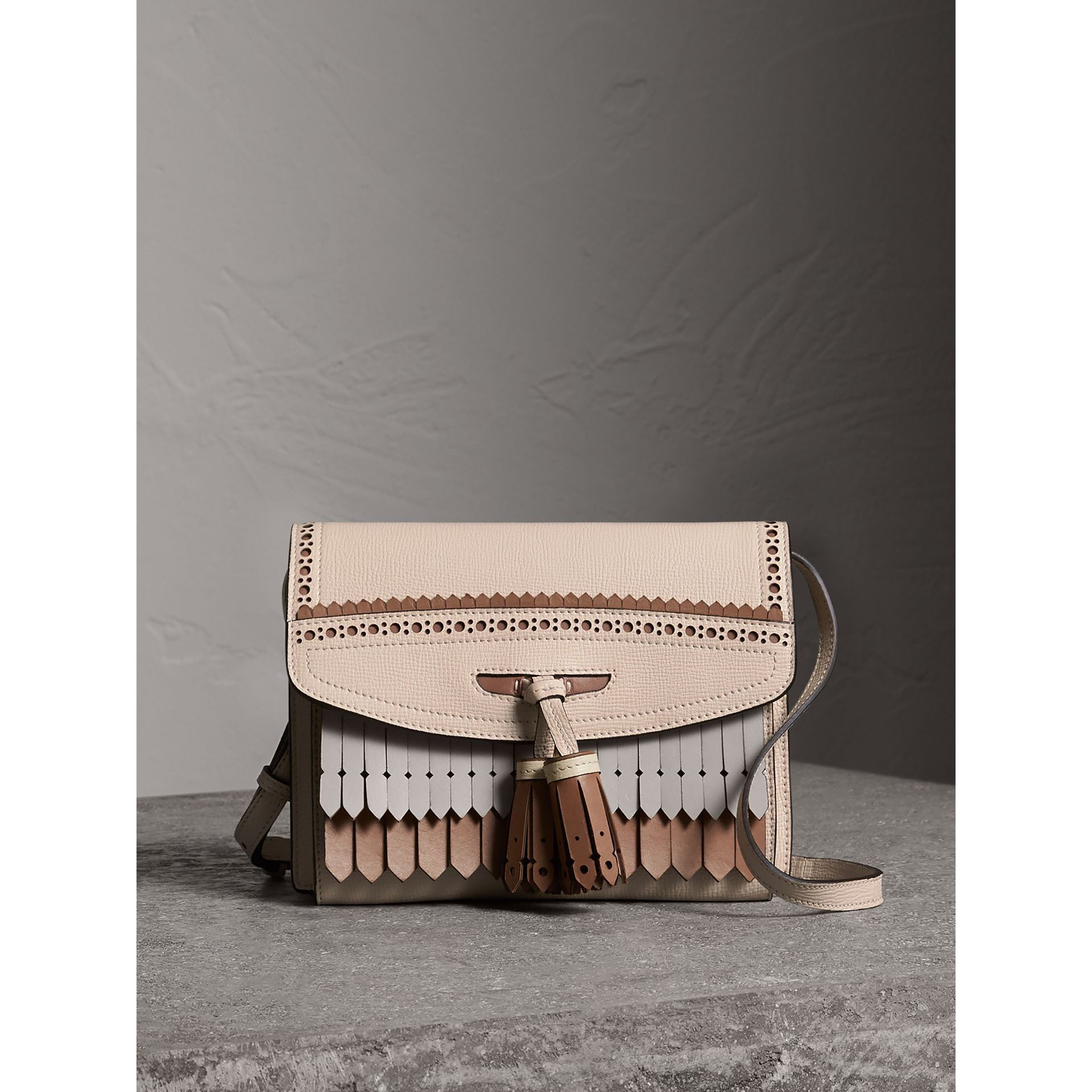 Brogue and Fringe Detail Leather Crossbody Bag in Limestone - Women | Burberry - gallery image 0