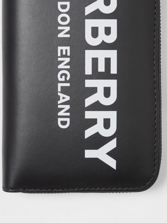 Logo Print Leather Ziparound Wallet in Black - Men | Burberry United Kingdom - cell image 1