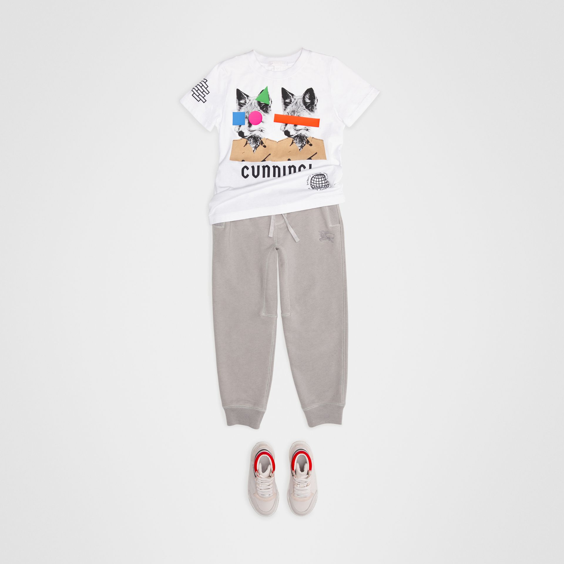 Fox Print Cotton T-shirt in White - Children | Burberry - gallery image 2