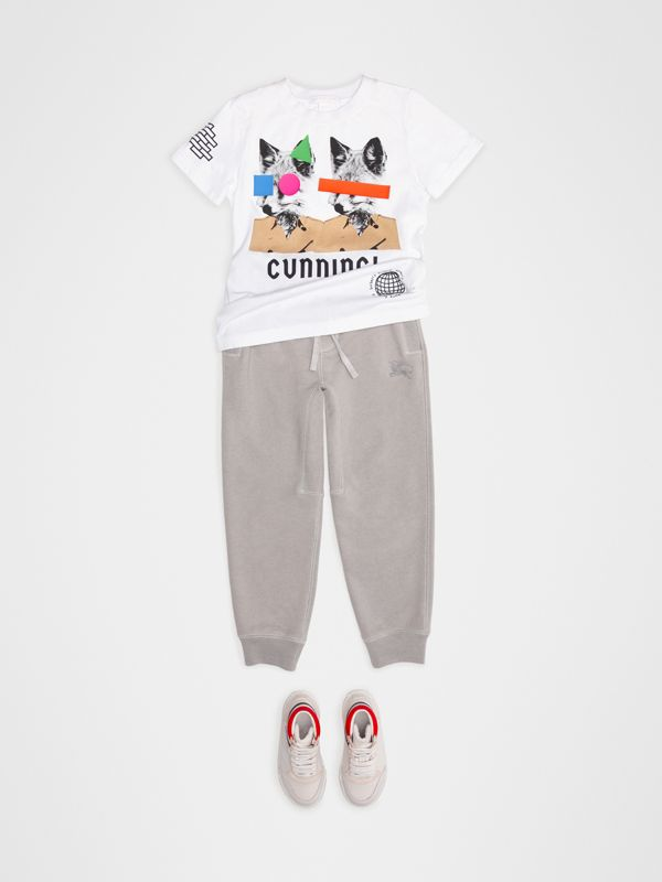 Fox Print Cotton T-shirt in White - Children | Burberry - cell image 2