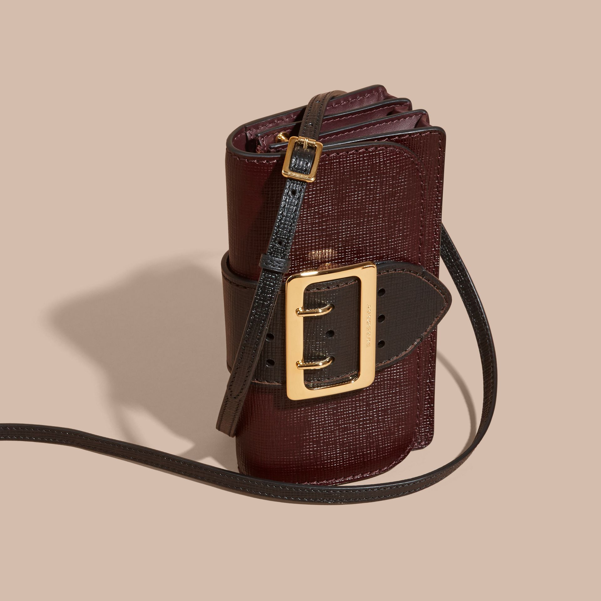 The Small Buckle Bag in Textured Leather in Burgundy/black - gallery image 8