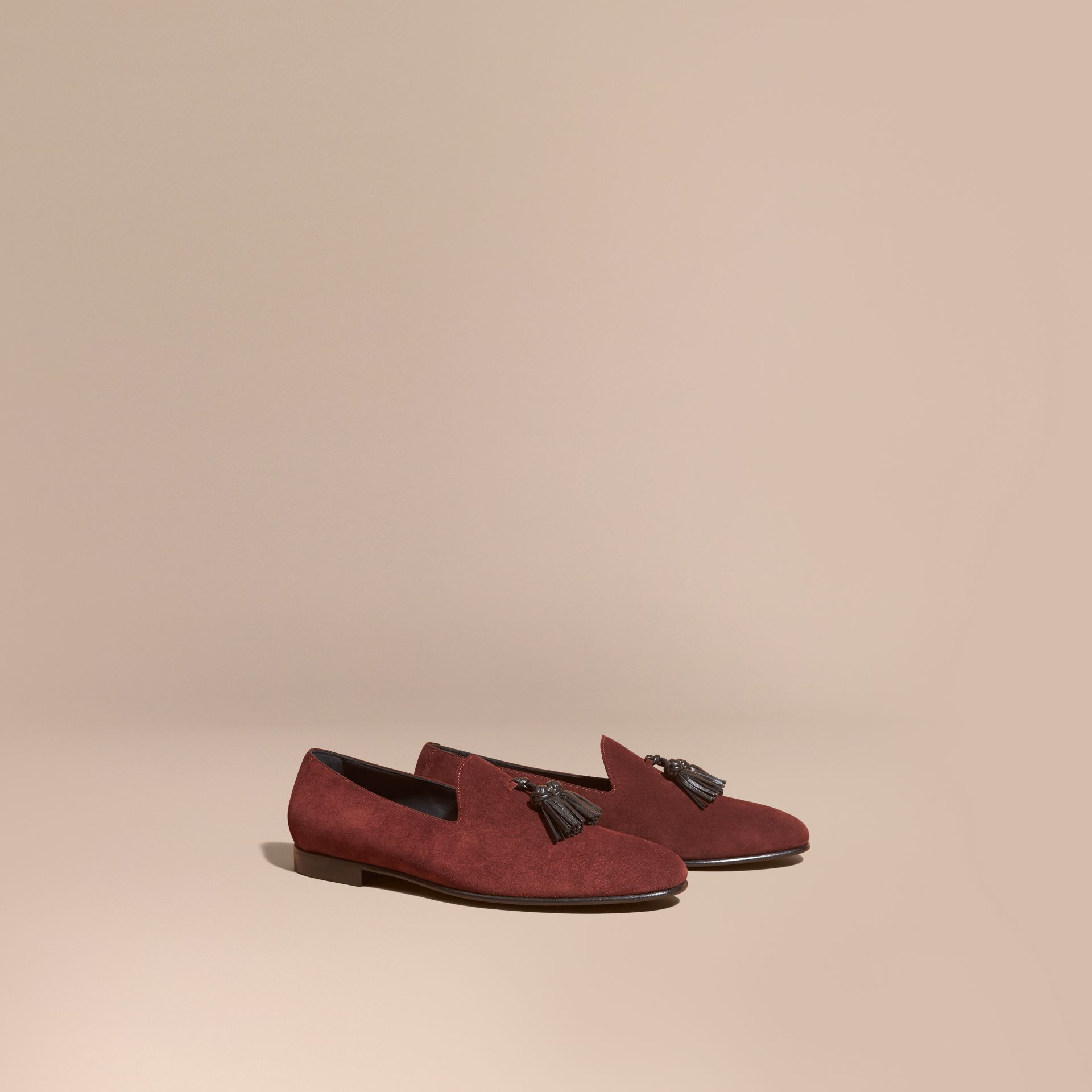 Deep aubergine Whole-cut Suede Tassel Loafers Deep Aubergine - gallery image 1