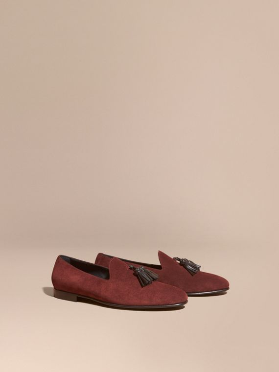 Whole-cut Suede Tassel Loafers Deep Aubergine