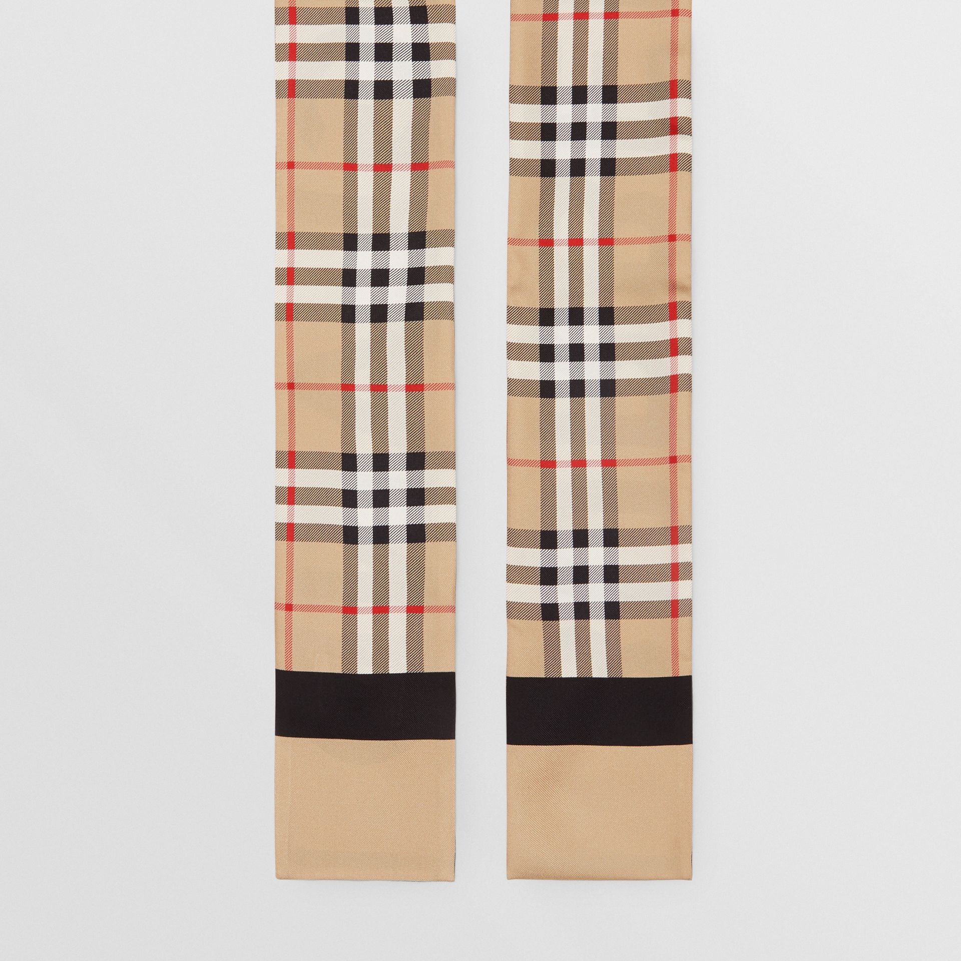 Vintage Check and Logo Print Silk Skinny Scarf in Archive Beige - Women | Burberry Hong Kong - gallery image 3