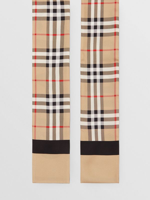 Vintage Check and Logo Print Silk Skinny Scarf in Archive Beige - Women | Burberry Hong Kong - cell image 3