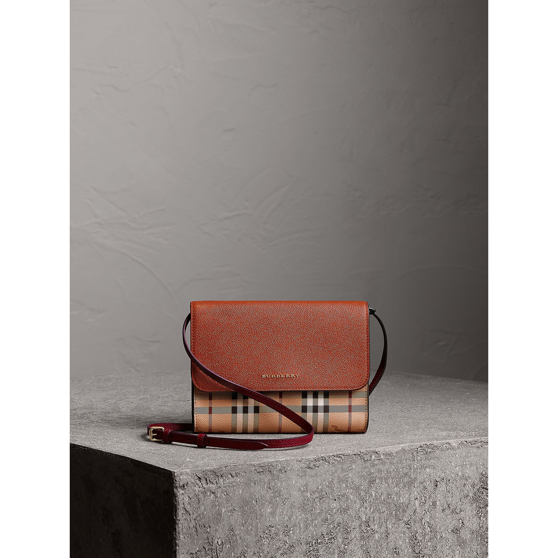 Haymarket Check and Leather Crossbody Bag in Bright Toffee/multi - Women | Burberry - gallery image 6