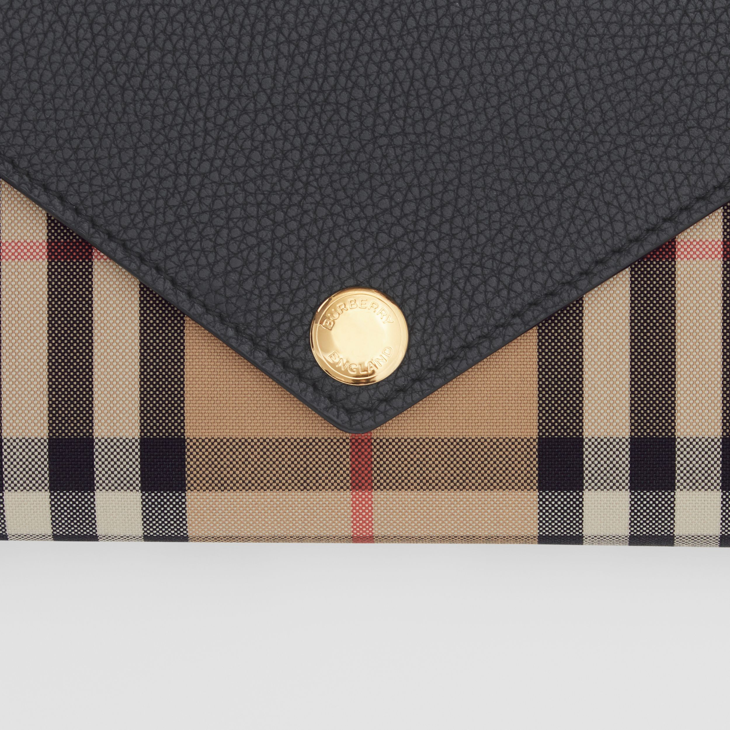 Vintage Check and Leather Continental Wallet in Black - Women | Burberry Australia - 2