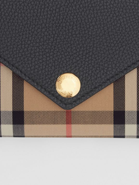 Vintage Check and Leather Continental Wallet in Black - Women | Burberry - cell image 1