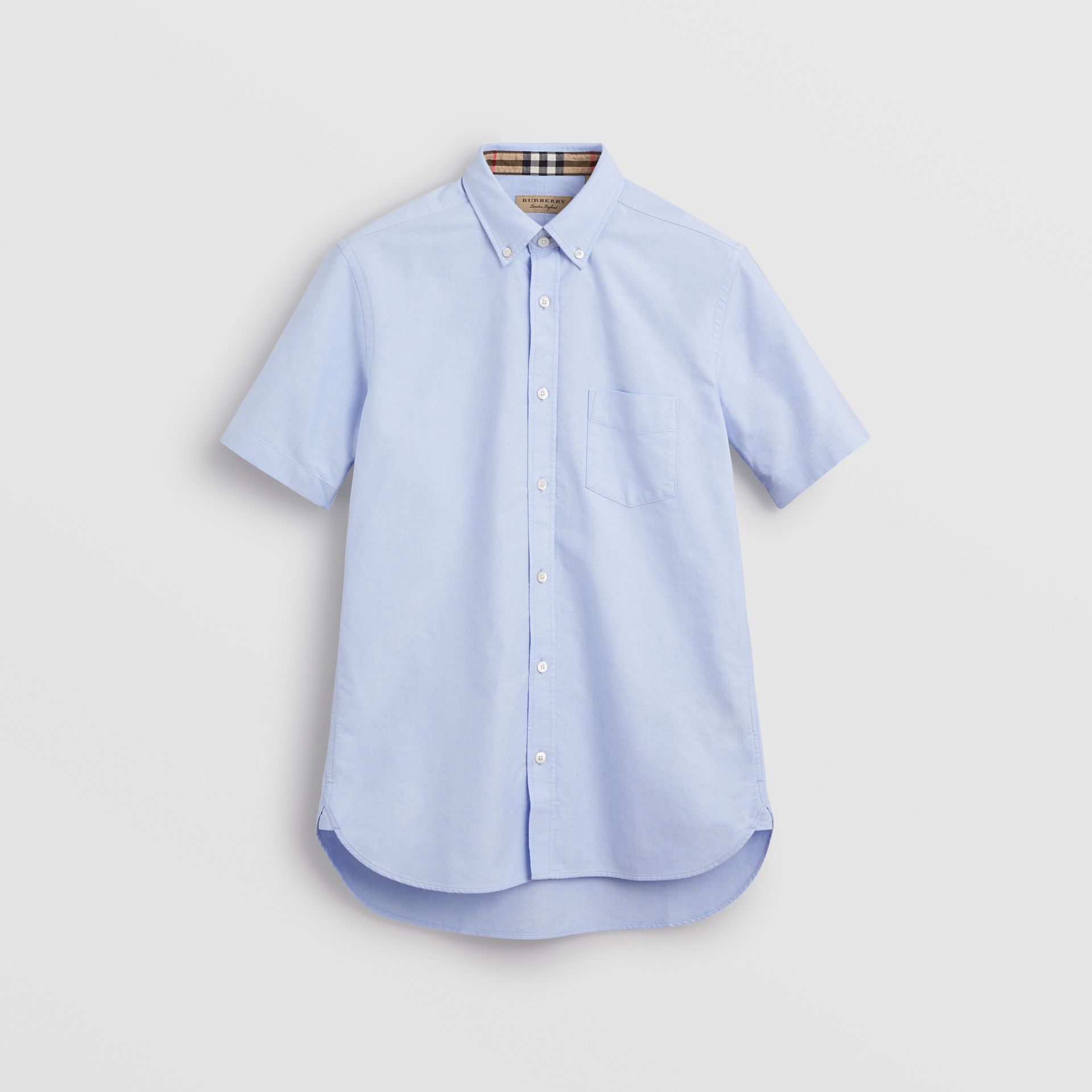 Short-sleeve Cotton Oxford Shirt in Cornflower Blue - Men | Burberry - gallery image 3