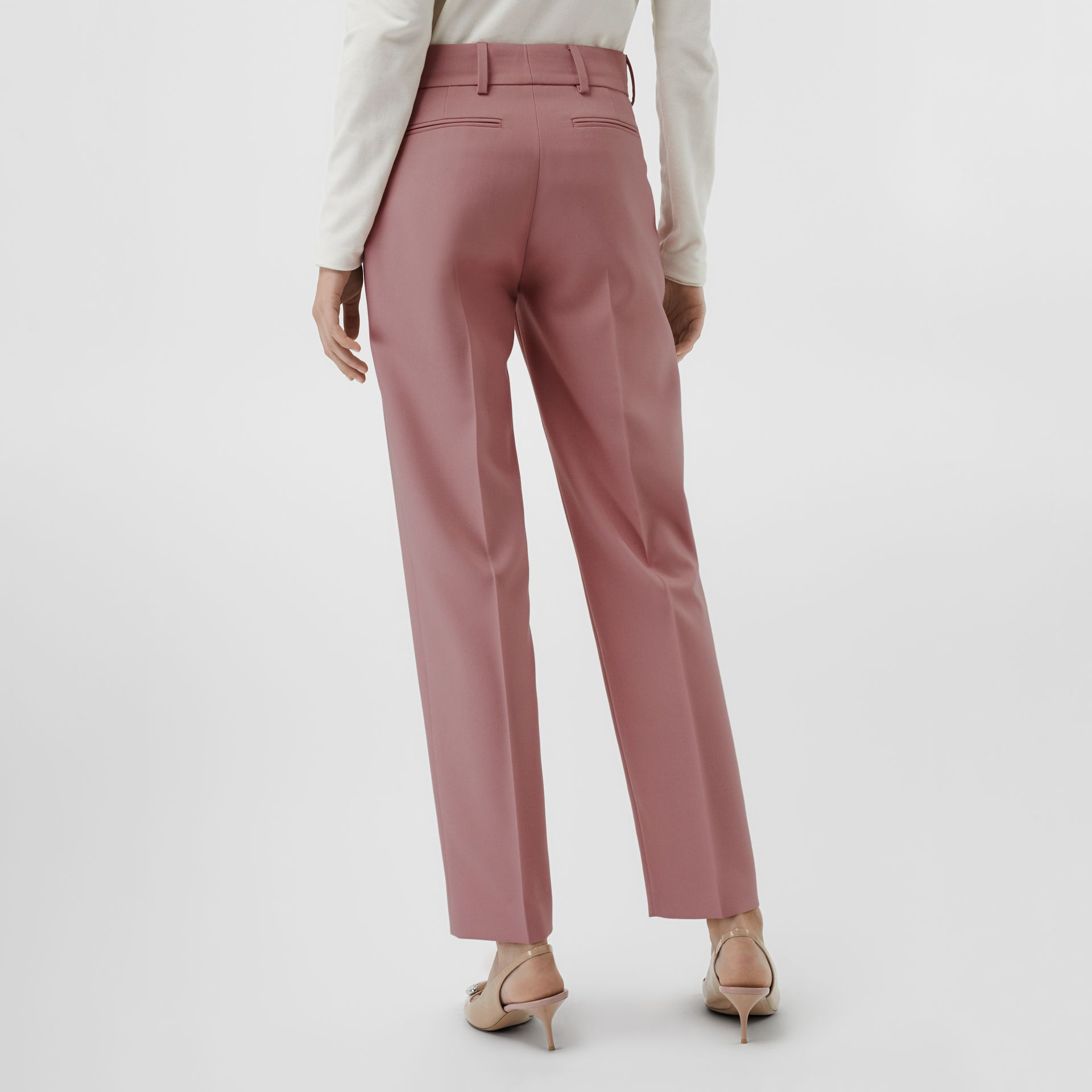 Straight Fit Wool Blend Tailored Trousers in Chalk Pink - Women | Burberry United Kingdom - gallery image 2