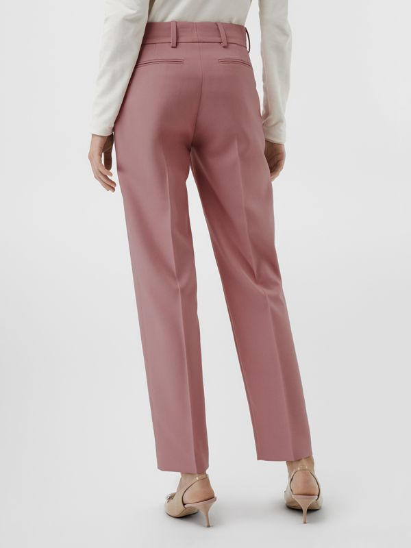 Straight Fit Wool Blend Tailored Trousers in Chalk Pink - Women | Burberry - cell image 2