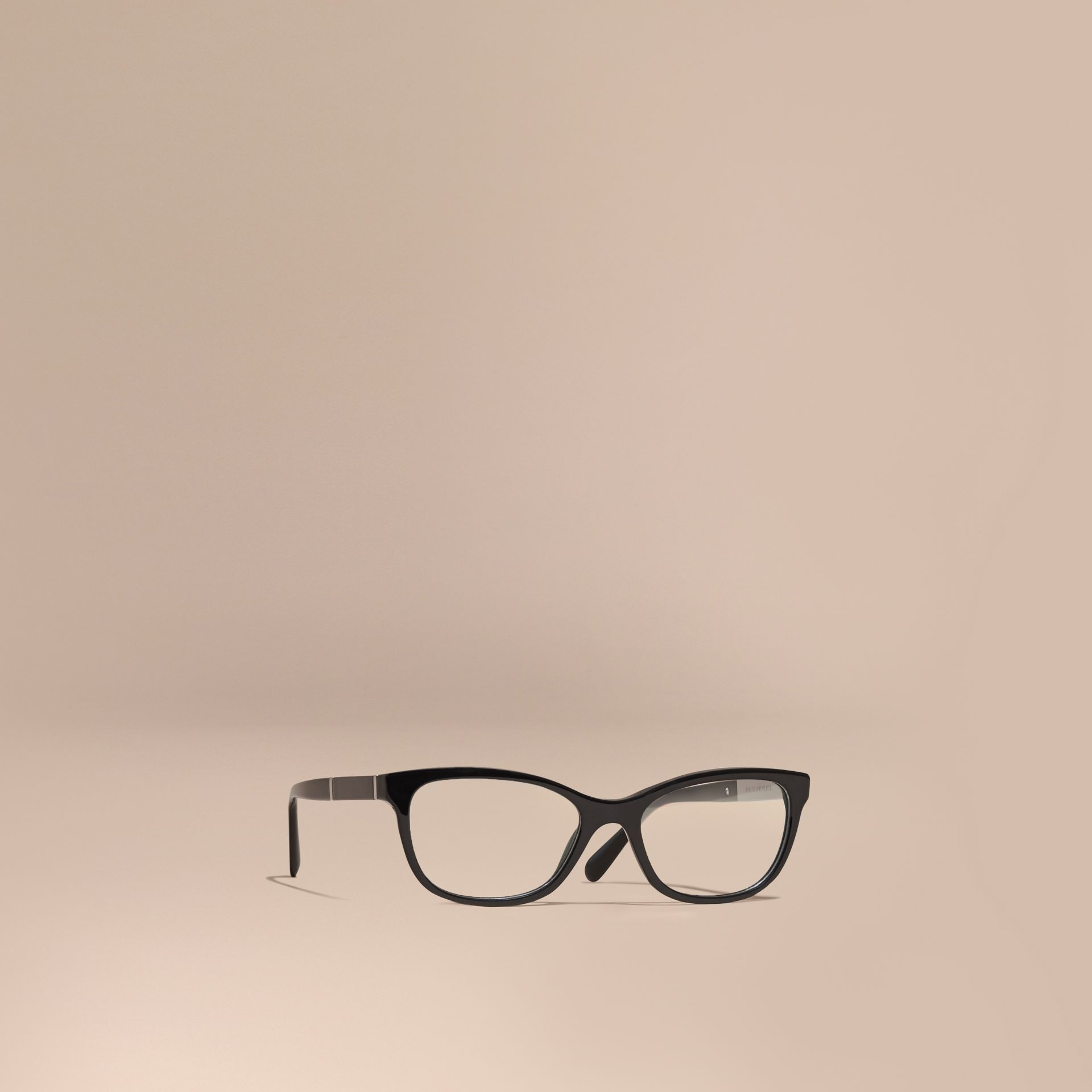 Check Detail Oval Optical Frames in Black - gallery image 1